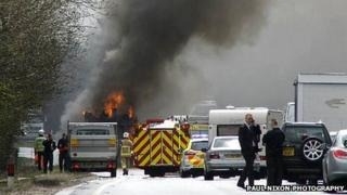 Fire engine on fire on A14