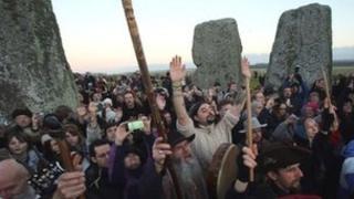Druids celebrate winter solstice at Stonehenge in Wiltshire