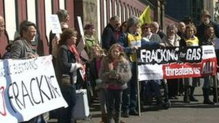 Anti-fracking campaigners in Preston