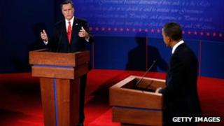 President Barack Obama and Republican challenger during the 2012 US Presidential debate