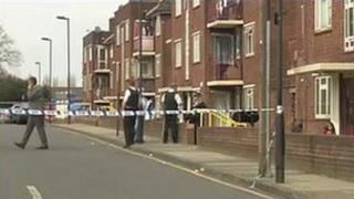 Officers at the scene in Tottenham