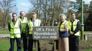 Councillor Peter Burt (third left) at UK's first roundabout