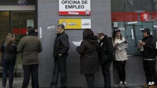 People queue outside a job centre in Madrid. Photo: April 2013