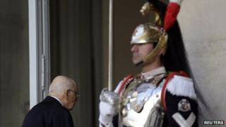 Giorgio Napolitano enters the Quirinale palace after a welcoming ceremony in Rome, 22 April 2013