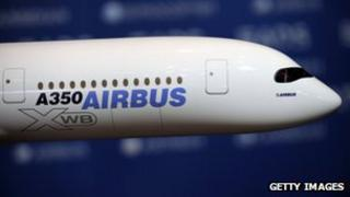 Model of A350 Airbus