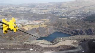 The view from the top of the zip wire at Zip World in Penrhyn Quarry, Bethesda