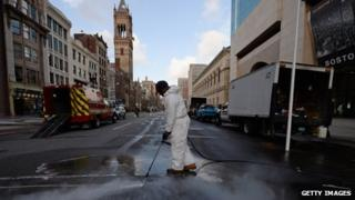 Boston's Boylston Street being cleaned - 22 April
