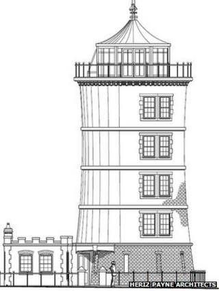 Drawing of what the lighthouse would look like