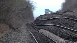 Track on its side with colliery in background