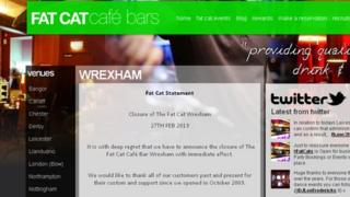 The Fat Cat website announces the closure of its Wrexham cafe bar