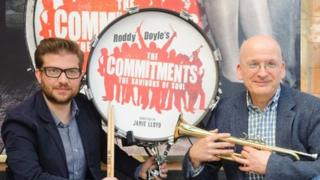 "Director Jamie Lloyd (left) and author Roddy Doyle at the Palace Theatre in central London, for the press launch of The Commitments, the west end show based on Doyle""s novel"