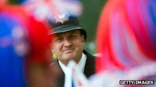 Smiling policeman at Diamond Jubilee celebrations