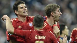Bayern players celebrate a goal
