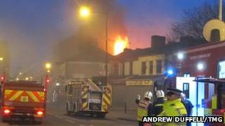 Fire at Godwin's Furniture Store, Norton Road, Stockton