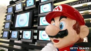 Japanese video game giant Nintendo's game character Super Mario stands at a showroom in Tokyo