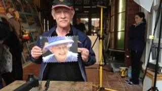 Dave Evans with a piece of his puzzle