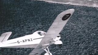 The plane in flight.