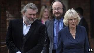 The Duchess of Cornwall with Hairy Bikers Simon King and Dave Myers