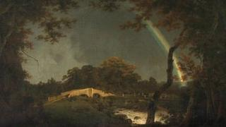 The painting of Landscape with Rainbow.