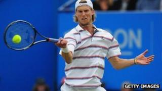 Andreas Seppi of Italy in action at the Aegon tournament at Eastbourne in 2012