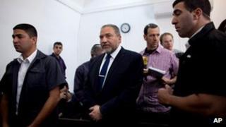 Israeli former foreign minister, Avigdor Lieberman in court in Jerusalem, 25 April 2013