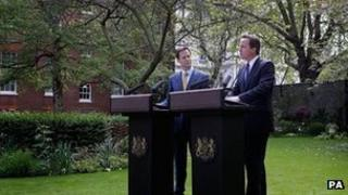 Press conference in Downing Street garden
