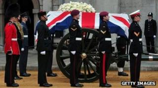The bearer party at Lady Thatcher's funeral