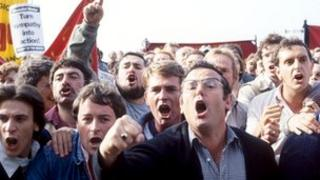 Striking miners in 1984