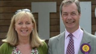 Anna-Marie Crampton with UKIP leader Nigel Farage