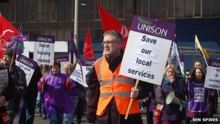 Middlesbrough Unison local government branch secretary Ian Campbell at anti-austerity programme rally in Middlesbrough