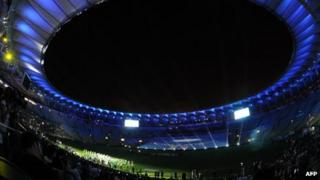 View of the inside of the Maracana stadium as it reopened with a test event on Saturday