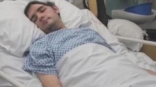 Gary Hayward in hospital