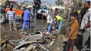 Scene of attack in Diwaniyah (29/04/13)