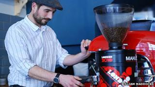 Alex Sargeant pouring an espresso at Strangers