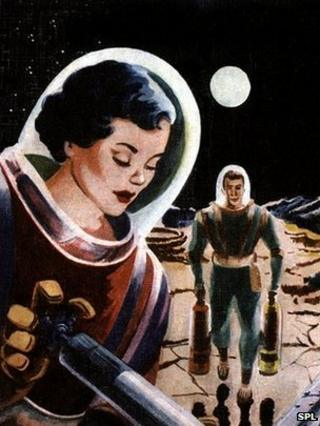 Woman astronaut from 1960s illustration