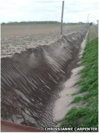 Soil blown into ditch in Manea, Cambridgeshire