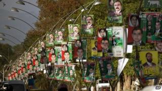 A road in Islamabad decorated with poster of election candidates
