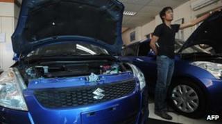 Suzuki cars on display in Burma