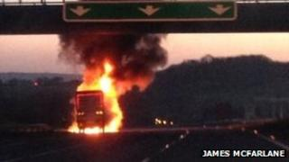 Lorry fire on A38. Pic: James McFarlane