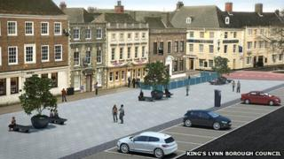 Artist impression of revamped King's Lynn Tuesday Market Place