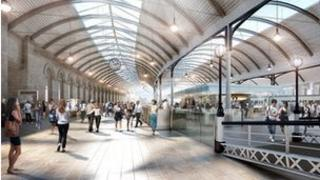 Artist's impression of interior work to Newcastle Central Station