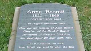 Anne Bronte's new gravestone
