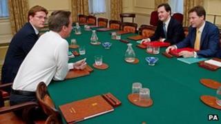 David Cameron, Nick Clegg, George Osborne and Danny Alexander