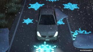 Glow in the dark ice symbols on road