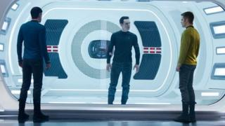 Benedict Cumberbatch (centre) with Zachary Quinto and Chris Pine in Star Trek Into Darkness