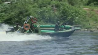 Military speed boat in the Niger Delta, Nigeria