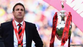Manager Malky Mackay with the trophy