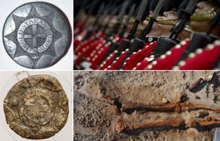 From top left, clockwise: Coldstream Guards' button and regiment in modern ceremonial dress above skeletal remains and a decomposed button