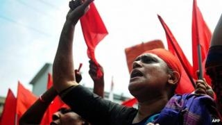 Workers take part in May Day protests in Dhaka