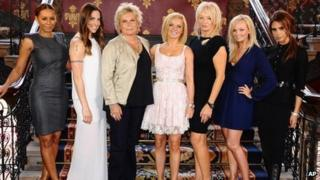 The Spice Girls with Jennifer Saunders (third from left) and Judy Craymer (third from right) at the musical's launch